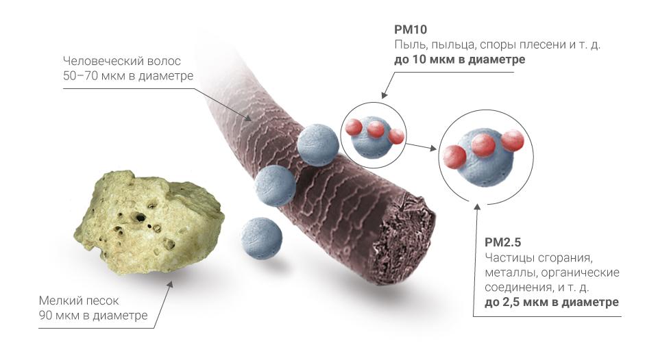 Частицы PM2.5 и PM10
